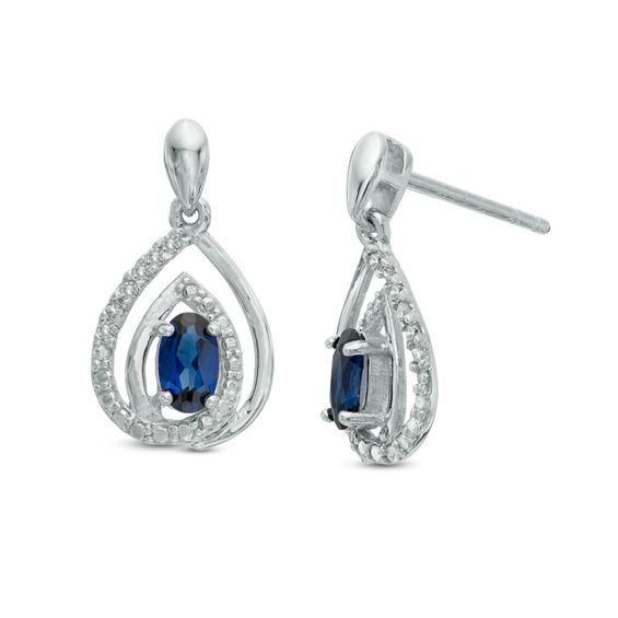 Zales Oval Blue Sapphire and Diamond Accent Frame Vintage-Style Stud Earrings in Sterling Silver p25eIWe