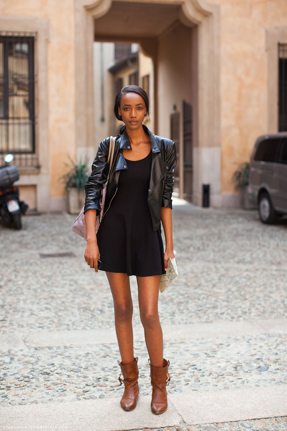 black dress and leather jacket & brown boots | Street Style ...