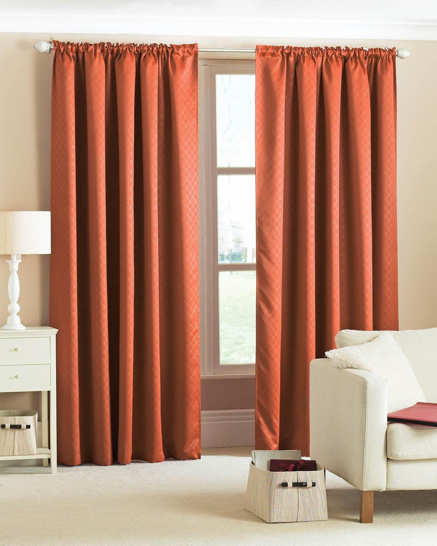 Diamond Woven Blackout Curtains Terracotta