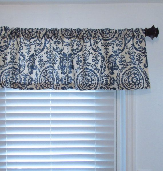 Window Valance Navy Blue Natural 50 By 15 Living By Oldstation