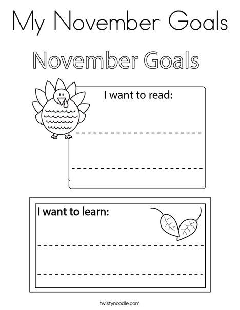 My November Goals Coloring Page - Twisty Noodle | Coloring ...