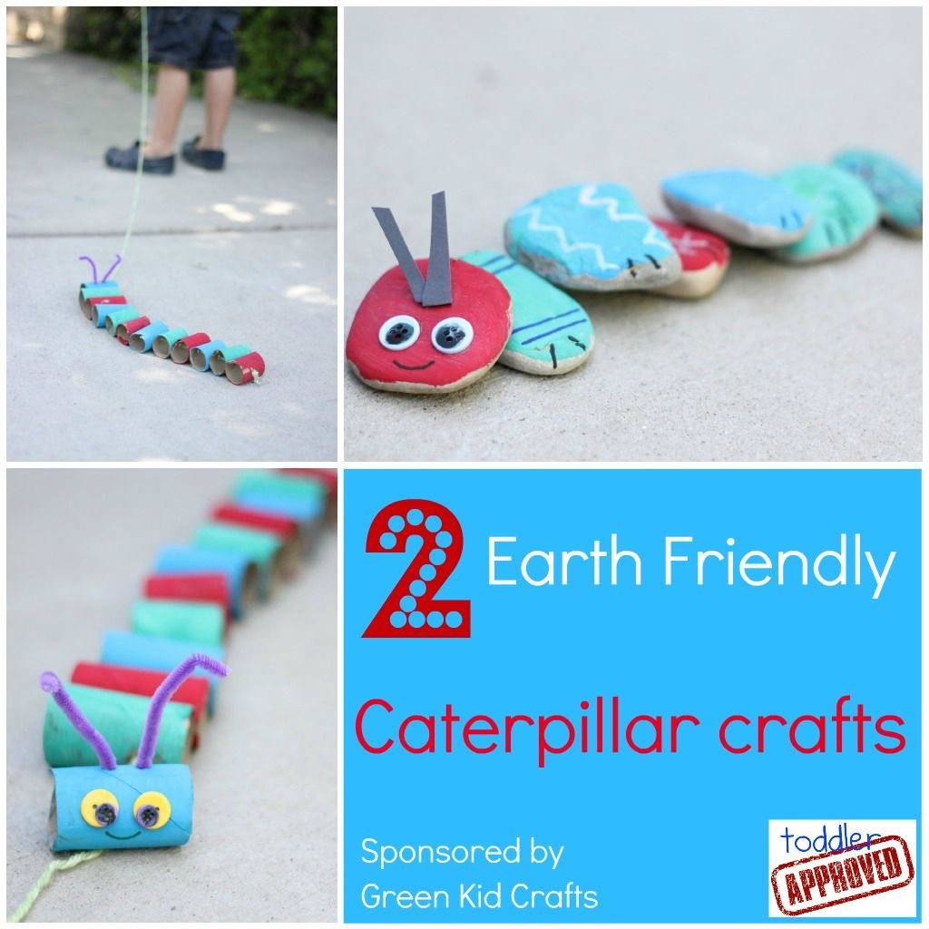 Toddler Approved!: 2 Earth Friendly Caterpillar Crafts. Do you have any favorite caterpillar crafts or activities? #GreenKidCrafts
