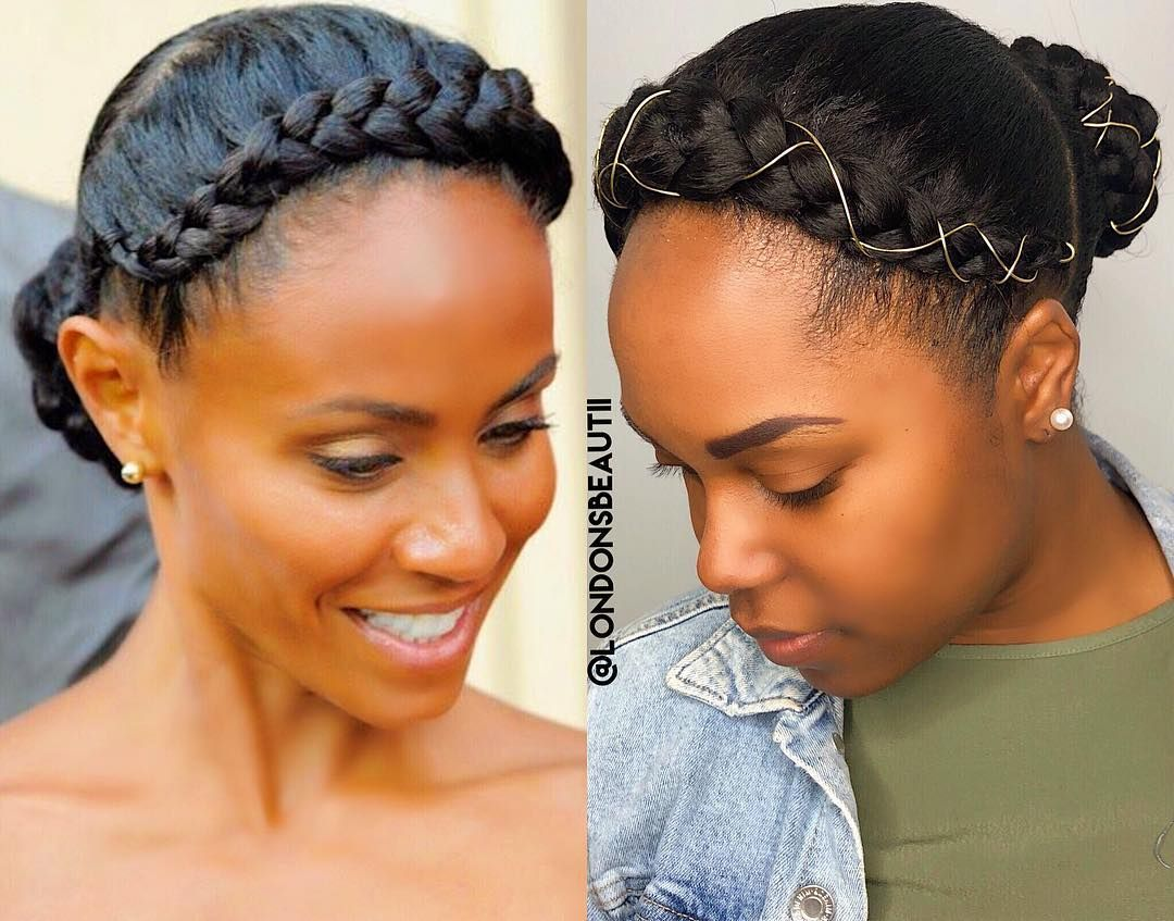 Click For Video Tutorial On This Look Londonsbeautii Londoncrownbun Https Www Youtube Co Natural Hair Styles Natural Hair Braids Braided Crown Hairstyles