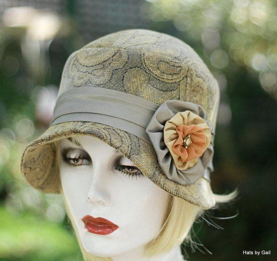 Womens Hat 20s Flapper Cloche Boho Tapestry Fabric Formal Vintage ... 8af3684e8488
