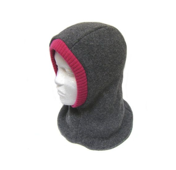 Balaclava helmet winter hat gray and pink