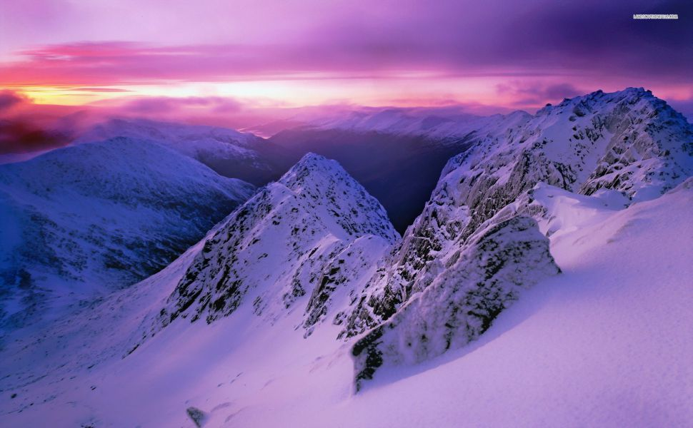 Pink Sunset Over The Snowy Mountains Hd Wallpaper Snowy Mountains Mountains Desktop Pictures