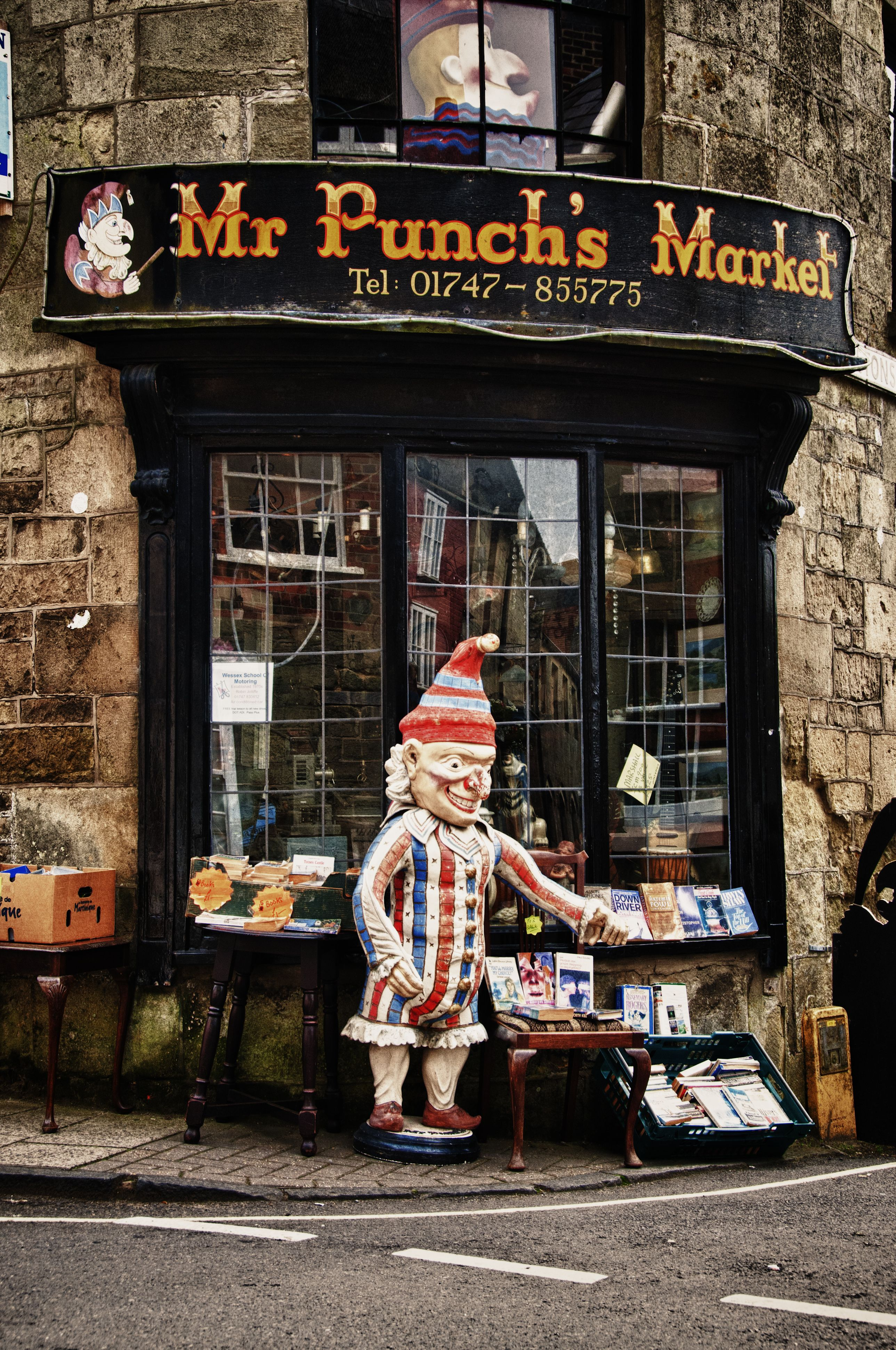 Mr Punch is ready to grab unsuspecting passers by, who are never to be seen again.......