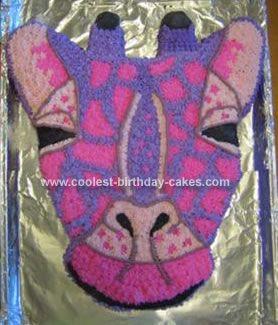Cool Homemade Pink and Purple Giraffe Head Birthday Cake Giraffe