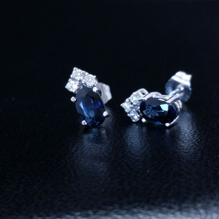 Solid 14k White Gold Natural Sapphire Diamond Earrings 1.30 ct Oval Round Cut #GDD #Stud