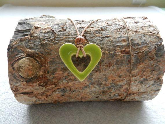 green heart shaped ceramic pendant ceramic heart by. Black Bedroom Furniture Sets. Home Design Ideas
