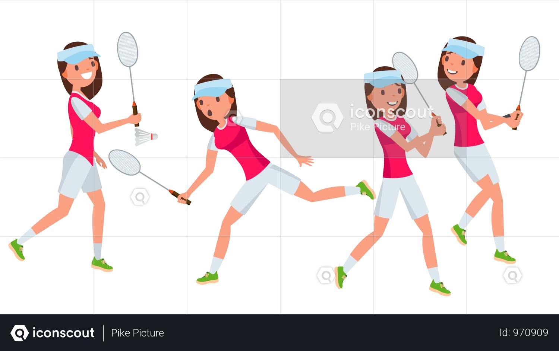 Premium Badminton Female Player Vector. Playing In