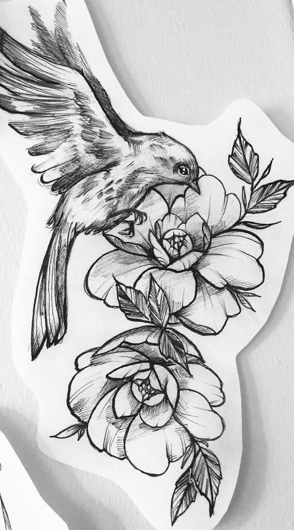 Flower With A Bird Tattoo Design Easy Flower Tattoos Easy Tattoos Crayon Birds Tattoo Tattoos Gallery Sleeve Tattoos
