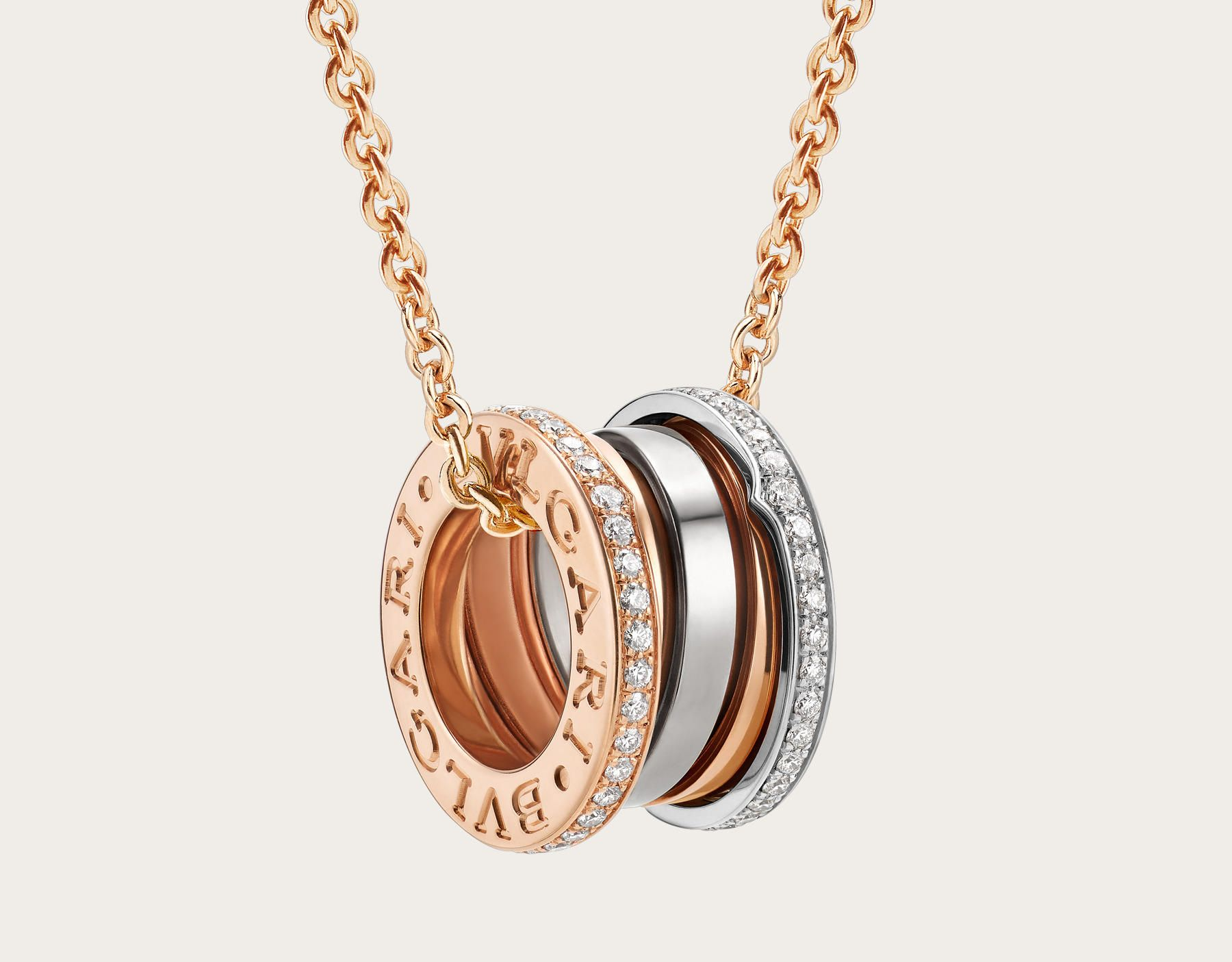 c6daa354cde62 B.zero1 Labyrinth 18kt rose and white gold necklace with pave diamonds.