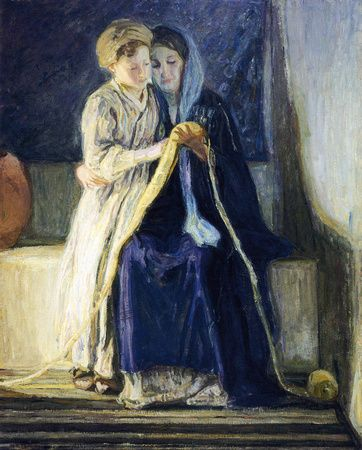 """""""Christ and His Mother Study the Scriptures"""" by Henry Ossawa Tanner (1909)"""