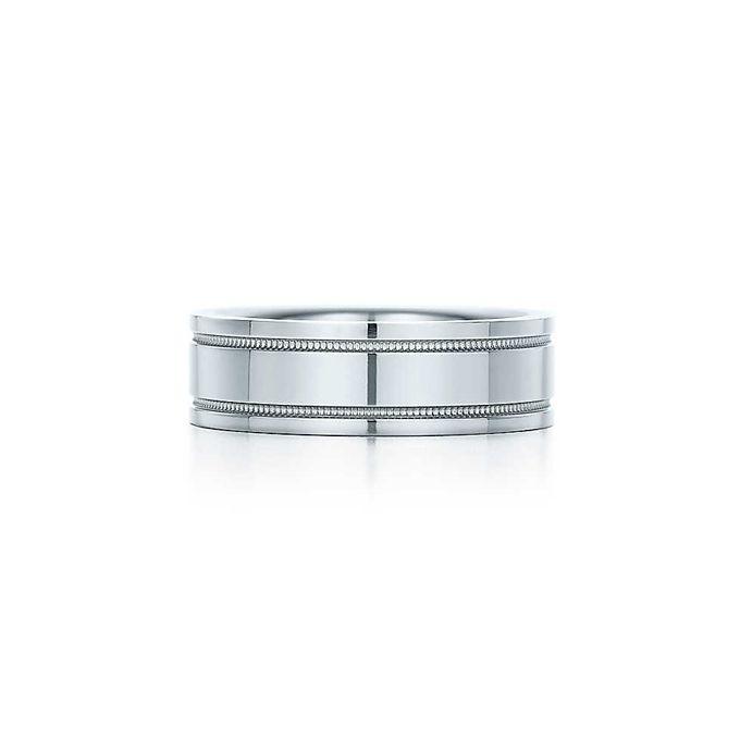 Platinum Double Milgrain 6mm Wide Flat Wedding Band Ring: Tiffany & Co. - Double Milgrain Band In Platinum