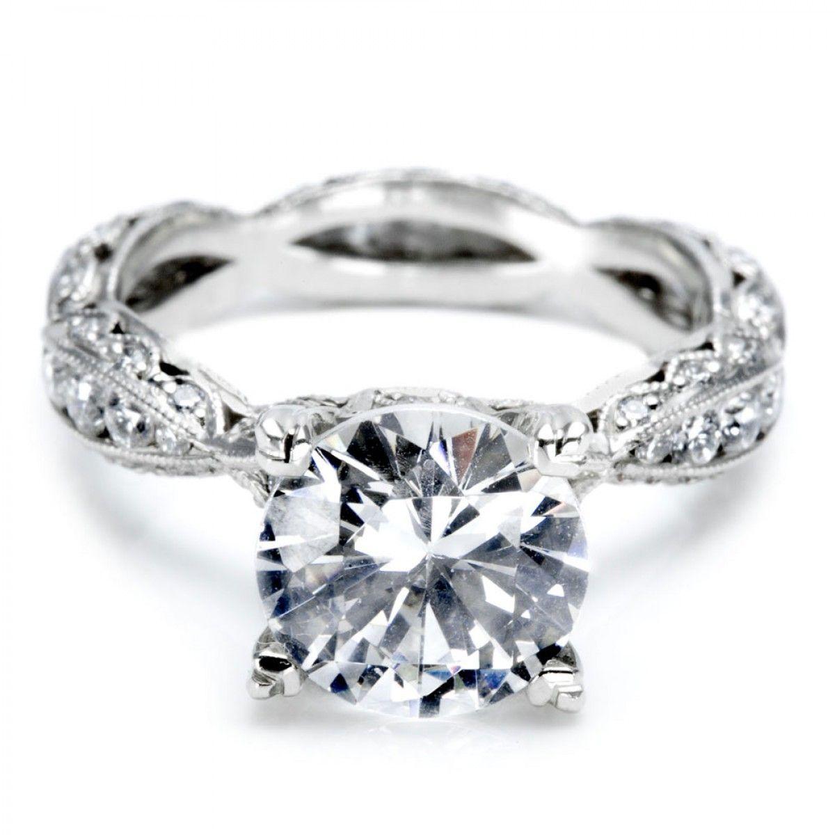 Crescent silhouette tacori engagement rings rose gold