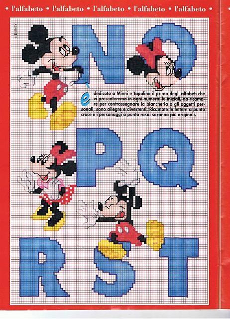 Alfabeto Punto Croce Con Disney Topolino E Minnie 3 Punto