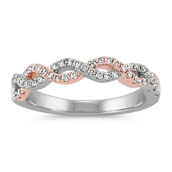 Infinity Twist Diamond Wedding Band In Gold Vintage Engagement