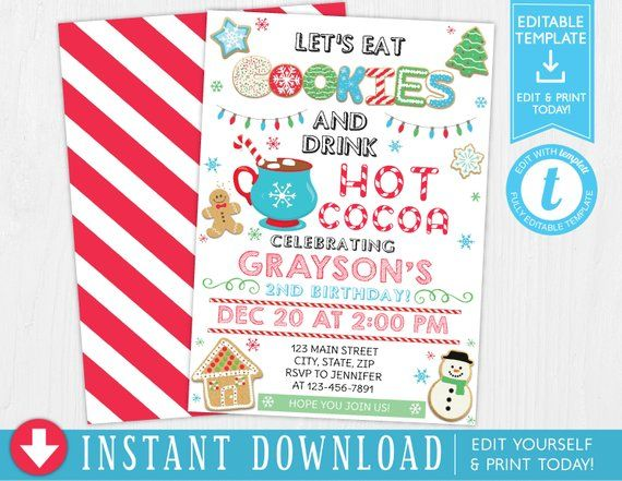 Christmas Cookie and Cocoa Birthday Invitation, Cookies and Cocoa