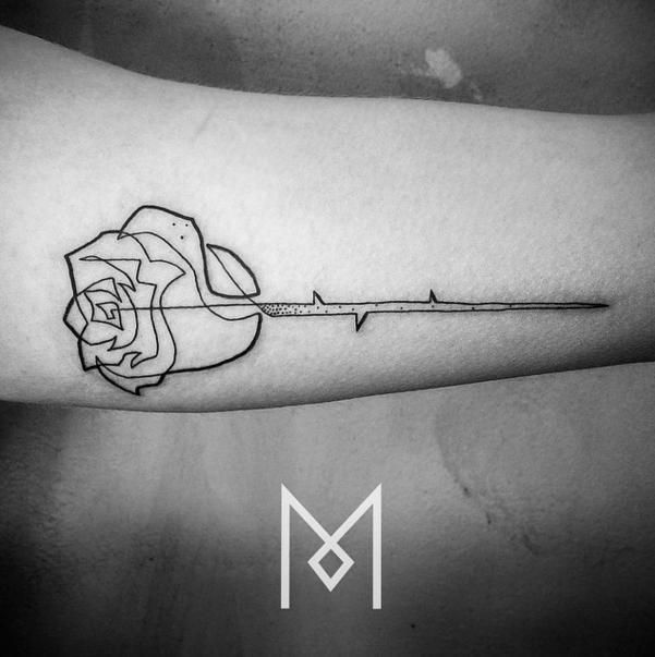 15 Single Line Tattoos That Are Simply Beautiful Single Line Tattoo Geometric Rose Tattoo Line Tattoos