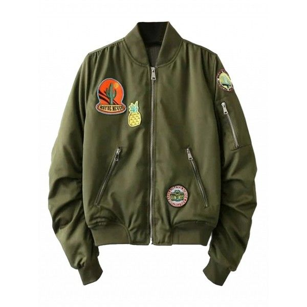 944fcbc24 Choies Oliver Green Pineapple Patches Cropped Bomber Jacket (180 ILS ...