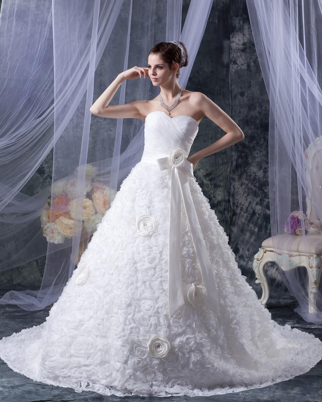 Flower Sweetheart Chapel A-line Bridal Gown Wedding Dress