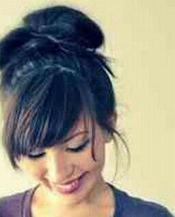 Quick And Messy Bun Updo With Layered Side Swept Bangs