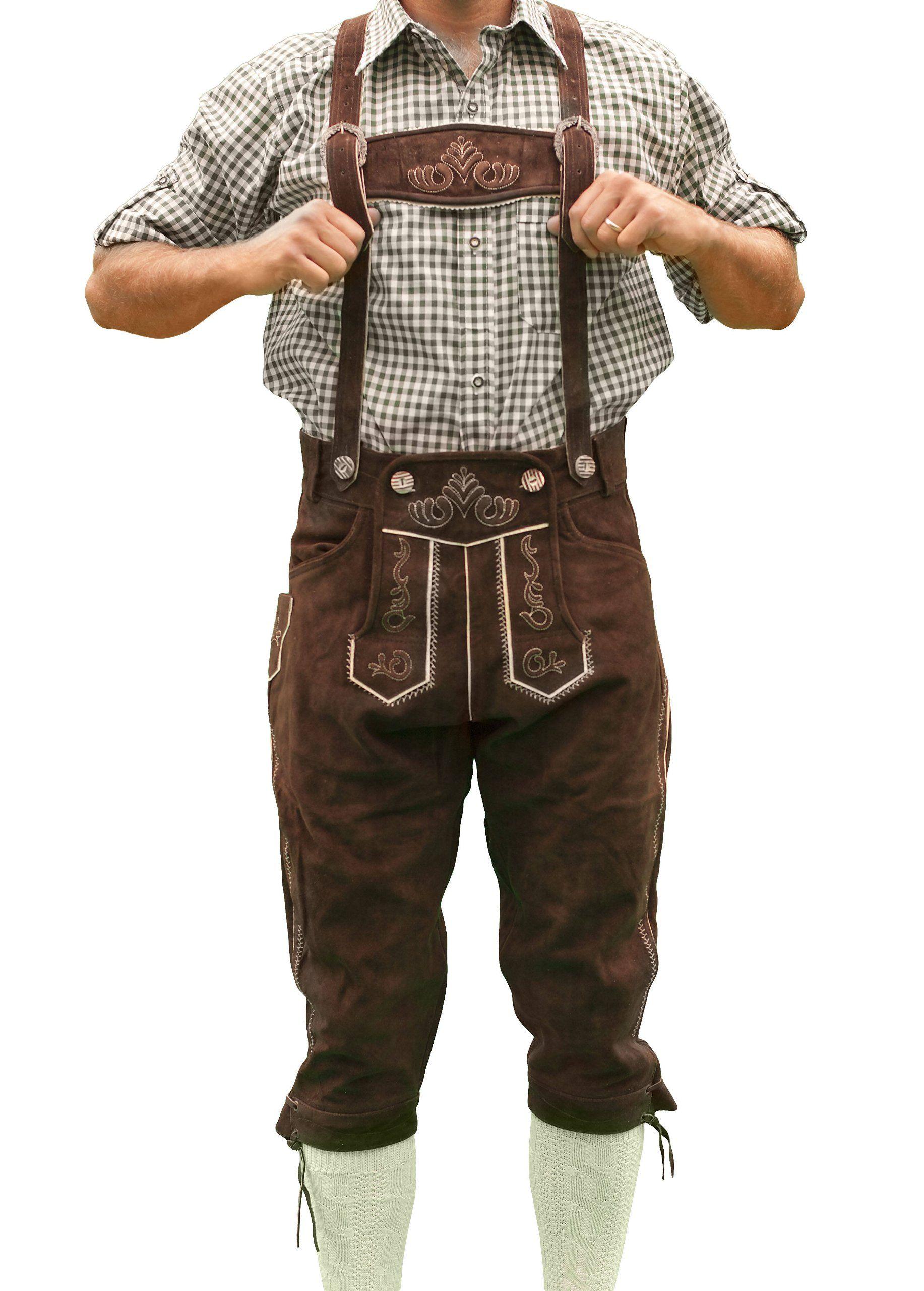 UK Mens Deluex Bavarian Lederhosen German Oktoberfest Shorts With Free Suspender