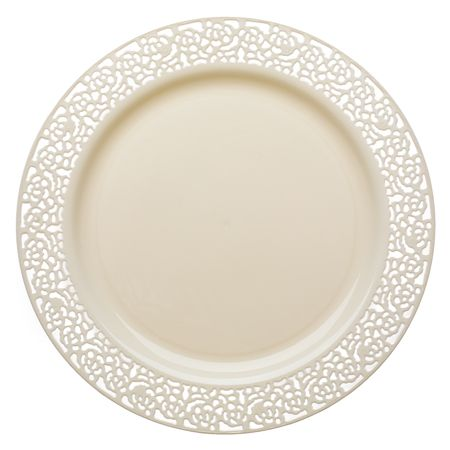 Save on low cost lace ivory high end plastic salad plates for fancy showers holiday catering \u0026 discount weddings on a budget.  sc 1 st  Pinterest & 1153LC 10.25 Inch Lace Ivory Dinner Plates | Wedding stuff ...