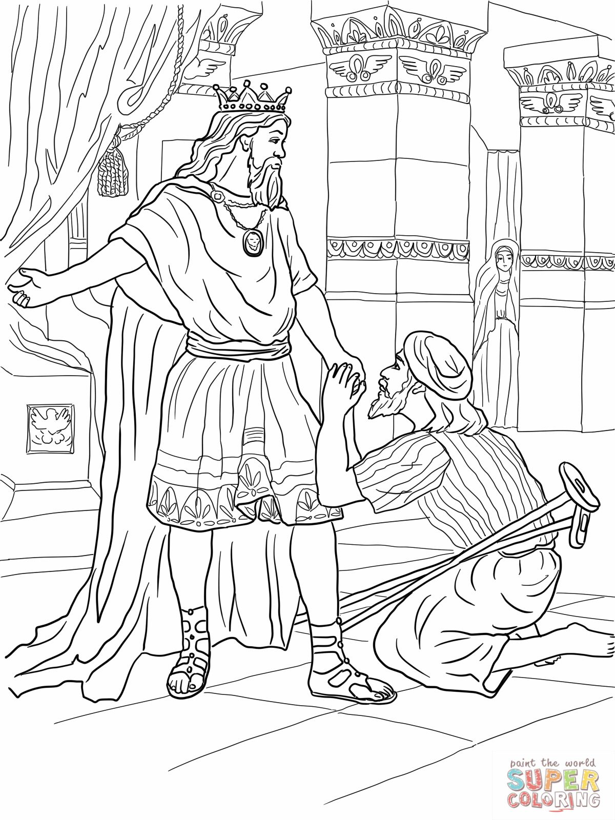Coloring pages for jonathan and david - Mephibosheth Coloring Pages David Helps Mephibosheth Coloring Online