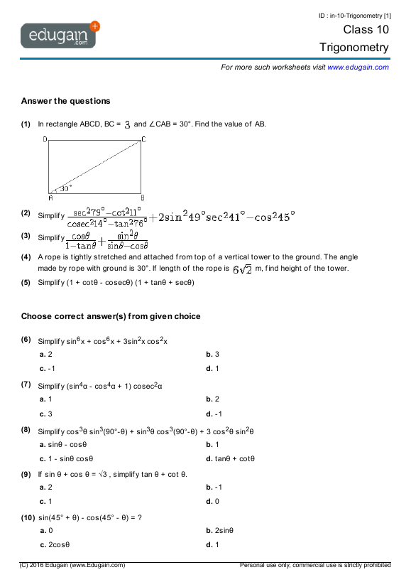 Trigonometry | Trigonometry | Trigonometry worksheets