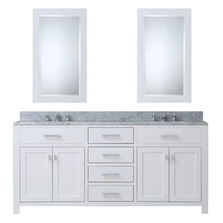 Water Creation Madison 60 Inch Solid White Double Sink Bathroom