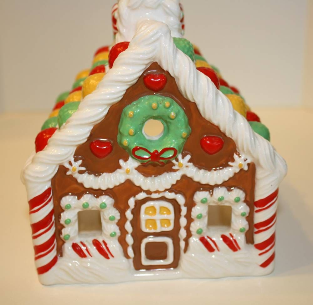 Vintage Avon Ceramic Gingerbread House Candle Holder Run