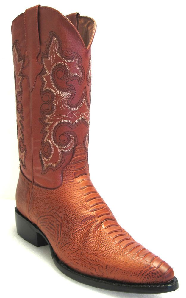 Mens Cognac Lizard Western Cowboy Leather Exotic Rodeo Riding Boots Team West