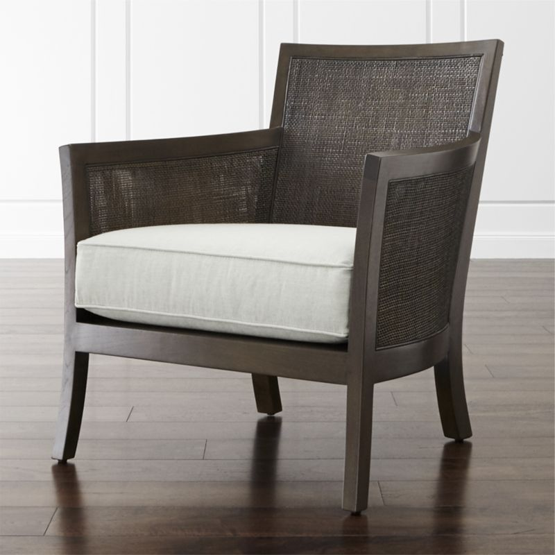 Blake Carbon Grey Rattan Chair With Fabric Cushion For The Home