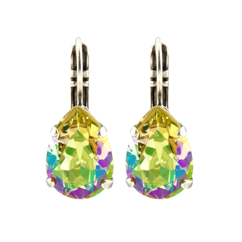 Mariana Silver Plated Raindrop Swarovski Crystal Drop Earrings in Green AB