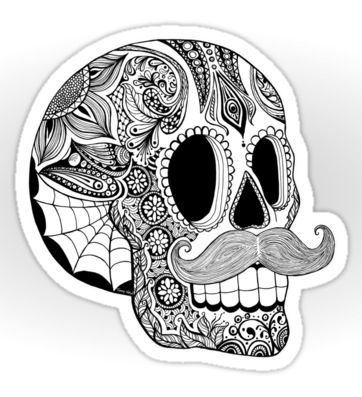 Mustache sugar skull by tammy wetzel via www redbubble com pop