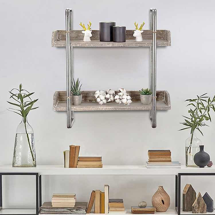 Rustic Weathered Wood Wall Shelf Metal Wall Shelves Weathered Wood Wall Wall Shelves