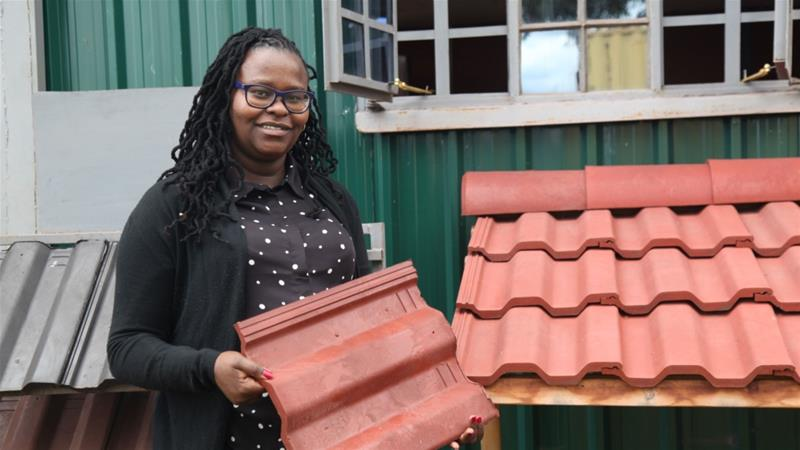 Kenyan Scientist Uses Throw Away Plastics To Build Homes In 2020 Plastic Roof Tiles Clay Roof Tiles Waste Collection