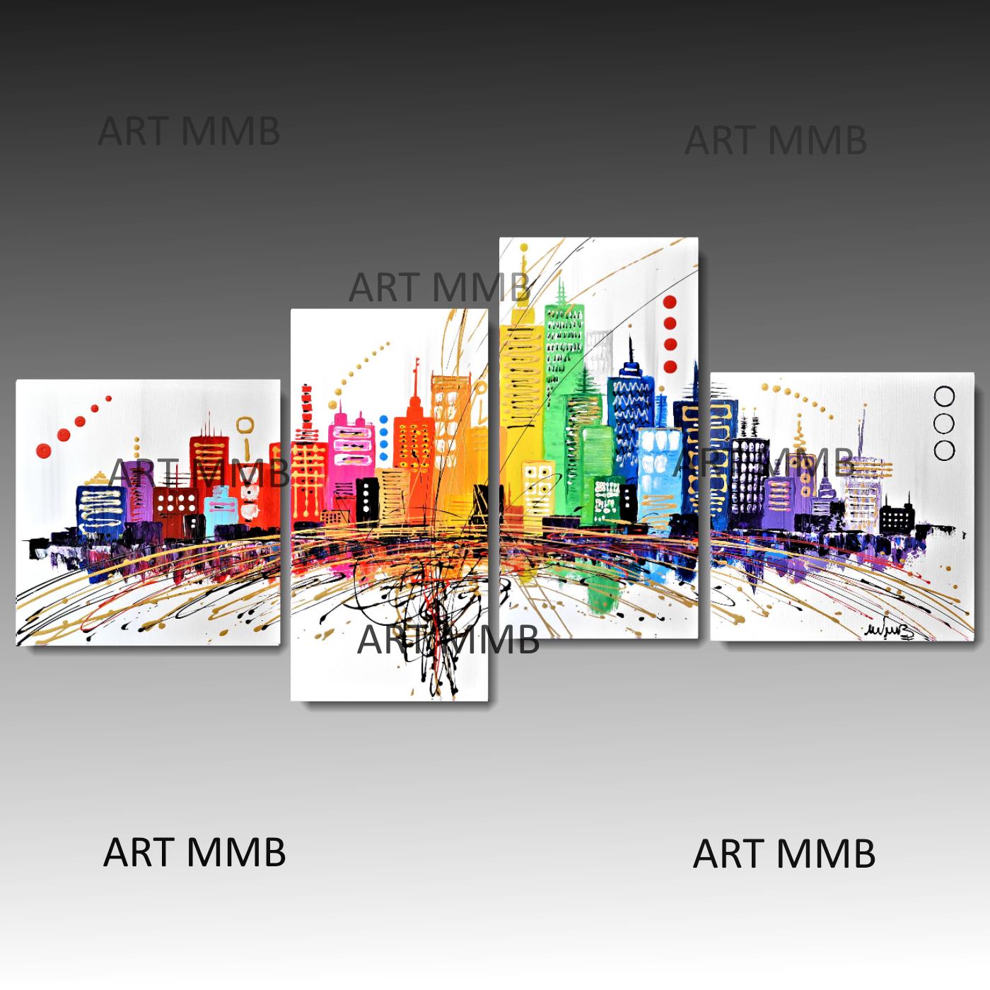 4 quadri moderni astratti citta 39 dei sogni multicolor for Quadri astratti moderni