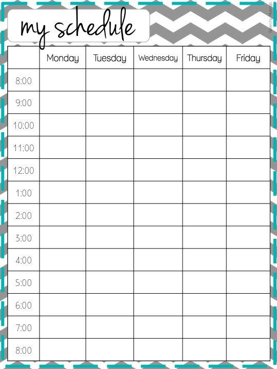weekly schedule by hour