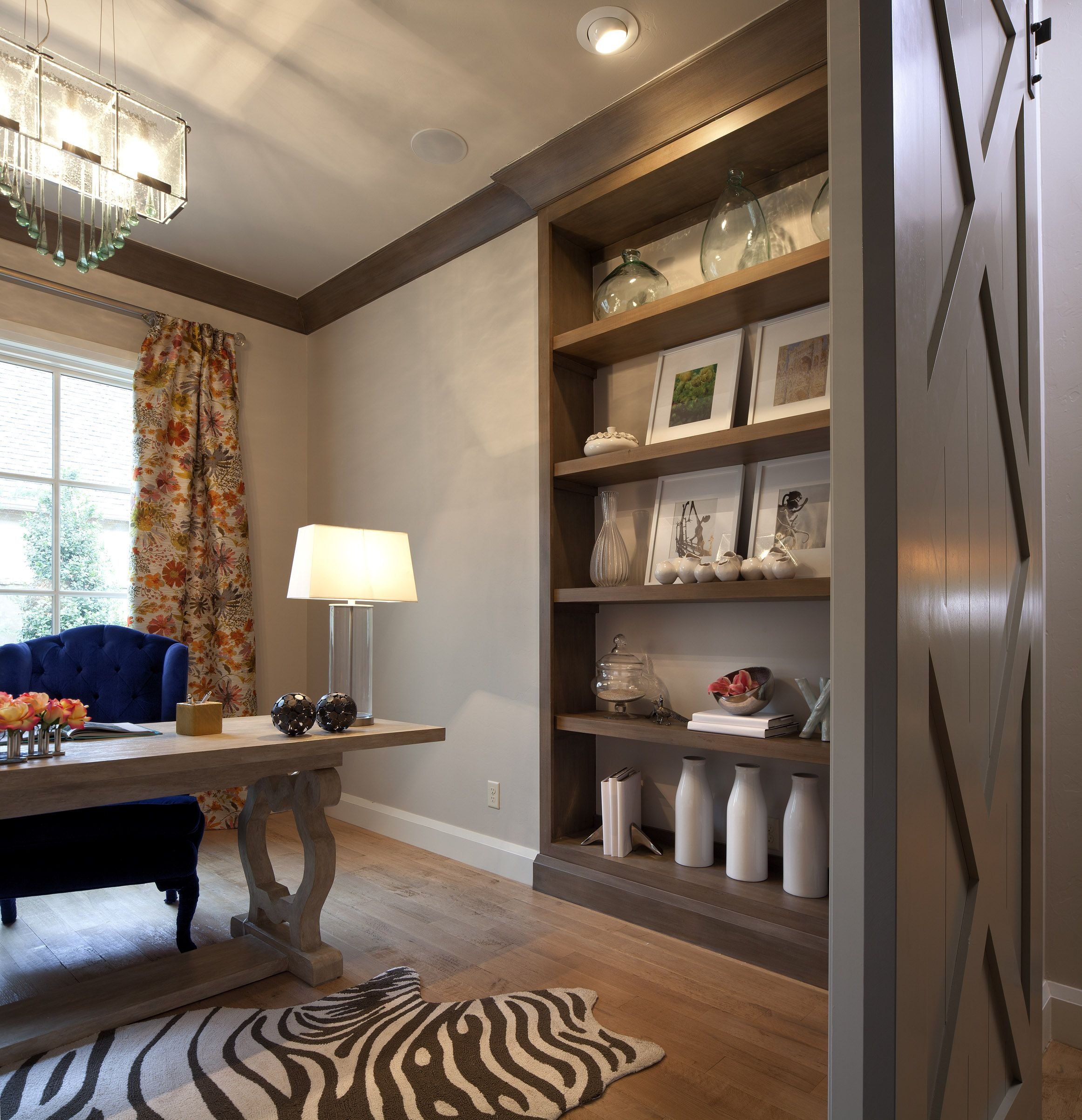 Home Office | Symphony Show Home | Bella Vici | OKC Designers | Zebra Rug | Ghost Chair