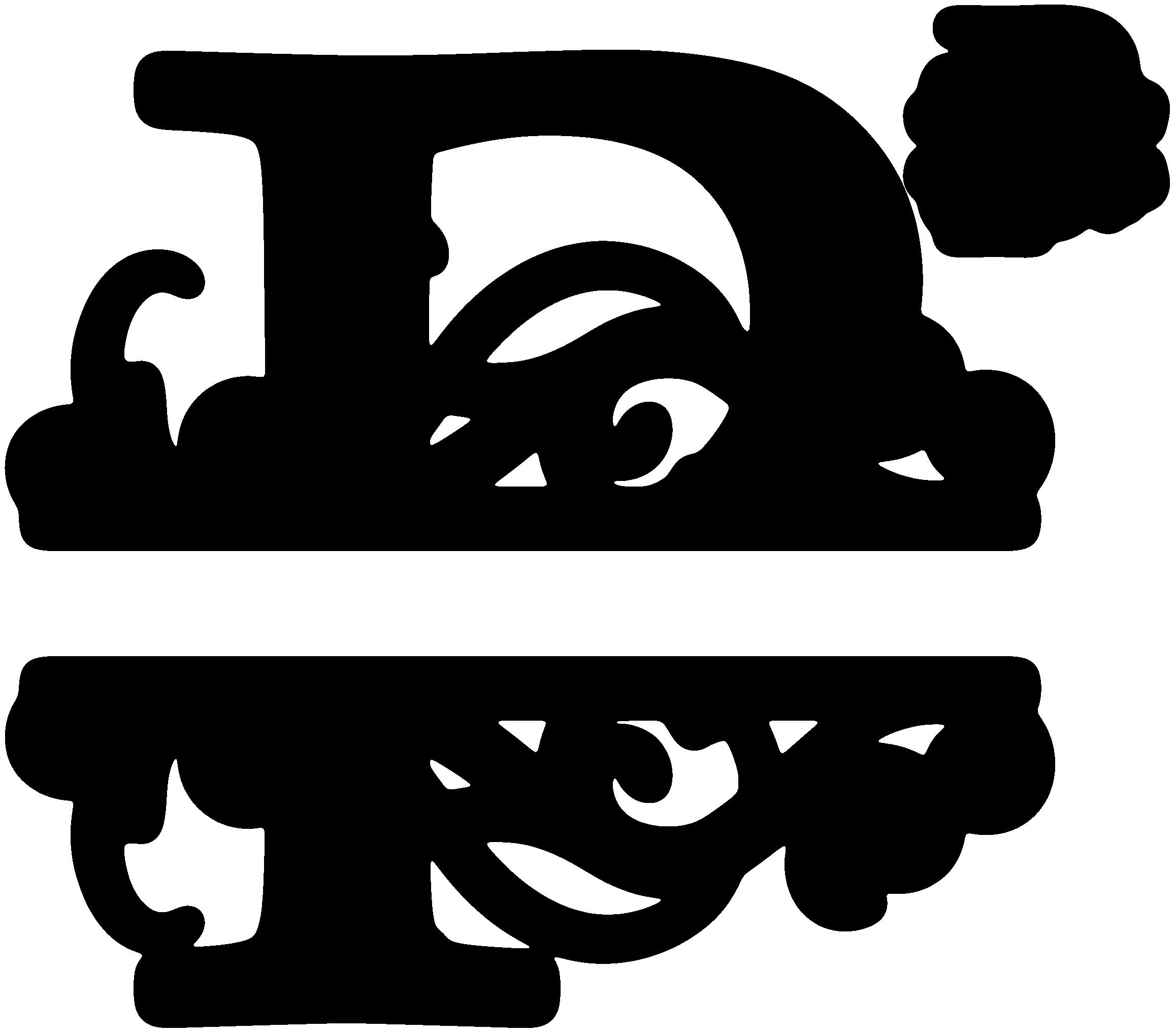 """""""P"""" Split Monogram Monogrammen, Initialen, Silhouet machine"""