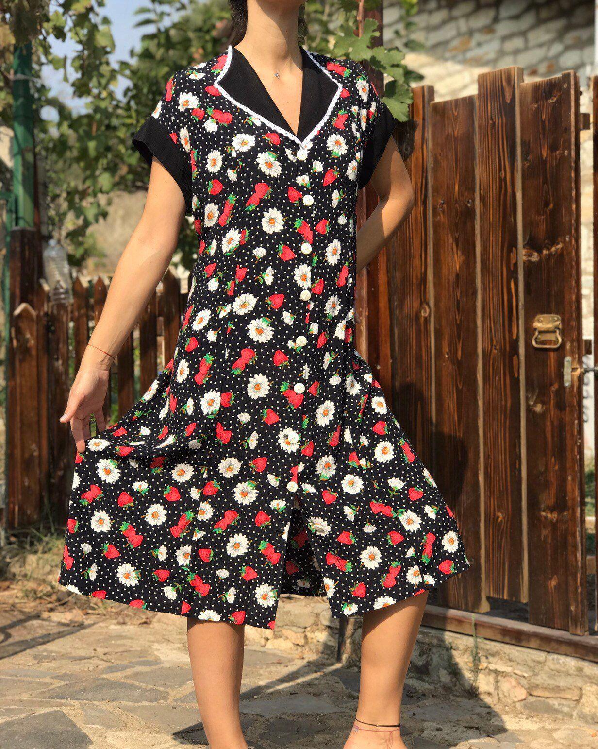 80s Vintage Midi Dress Handmade Summer Dress Vintage Etsy Vintage Midi Dresses Vintage Summer Dresses Vintage Prairie Dress [ 1542 x 1232 Pixel ]