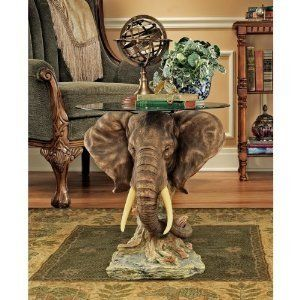 elephant round coffee table with glass top | elephant decorations