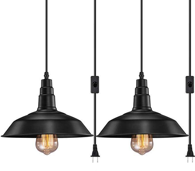 Fadimikoo Plug In Pendant Light E26 E27 Industrial Hanging Pendant
