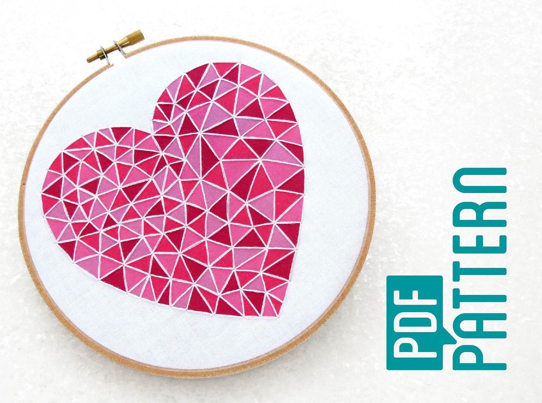 Geometric heart embroidery pattern easy hoop art tutorial pdf