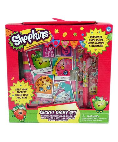 Shopkins Girls Diary With Pen NEW Lock Key Stamp and Stickers Keepsake