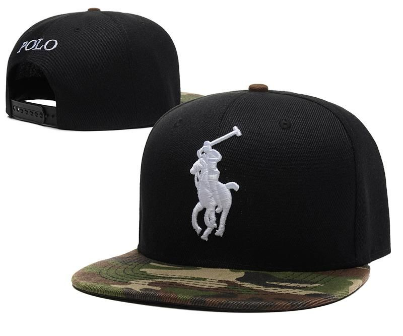 Men's Polo Ralph Lauren Big Pony 3D Embroidered Logo Polo Letter Back Baseball Snapback Hat - Black / Camo