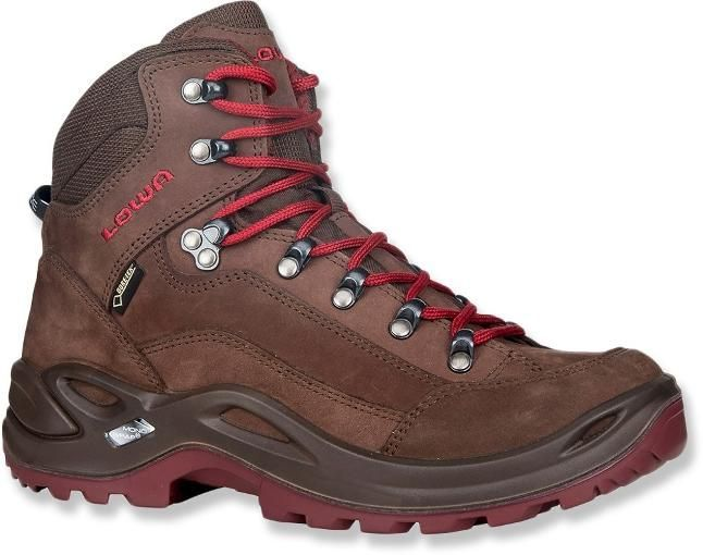 Lowa Renegade GTX Mid hiking boots in Espresso/Berry #hikingboots